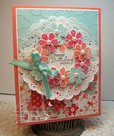 Stampin' Up! Sale-A-Bration Bloomin' Marvelous Birthday Card also uses Spring Catalog Paper Doilies, Cloudy Day Embossing Folder.  CS and ribbon from Annual Catalog.