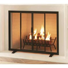 Hottest Screen modern Fireplace Screen Tips Shop style selections black powder coated steel flat twin fireplace screen in the fireplac Modern Fireplace Screen, Fireplace Screens With Doors, Fireplace Tool Set, Black Fireplace, Diy Fireplace, Fireplace Design, Fireplaces, Glass Fireplace Doors, Fireplace Cover Up