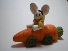 Easter Bunny in a Carrot Car  Handmade by Helen's by HelensClayArt, $12.95