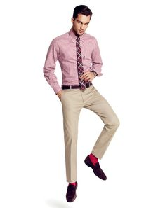 Pop Socks Don't be afraid to wear a sock with some personality. Just make sure the color syncs with the rest of your look. Otherwise you're just the guy with the really loud socks. Slim khakis, $50, by Gap. Shirt, $165, by Faconnable. Tie, $60, by Steven Alan. Loafers, $98, by Banana Republic. Socks, $25, by Pantherella. Belt by Club Monaco. Watch by Victorinox Swiss Army