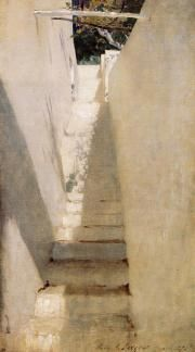 Staircase in Capri by John Singer Sargent, 1878. Study in simplicity and achieving depth.