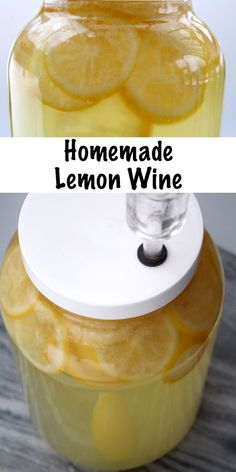 Homebrewing wine Homemade Lemon Wine Recipe for Home brewing. Lemon wine tastes like sipping summertime and its really easy to make at home with just a few simple ingredients. Homemade Wine Recipes, Homemade Alcohol, Homemade Liquor, Fermentation Recipes, Homebrew Recipes, Brewing Recipes, Beer Recipes, Drink Recipes, Fast Recipes