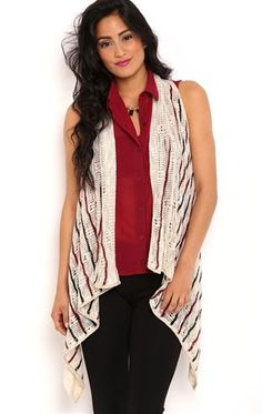 Deb Shops Sleeveless knot back open stitch with striped cozy $18.37