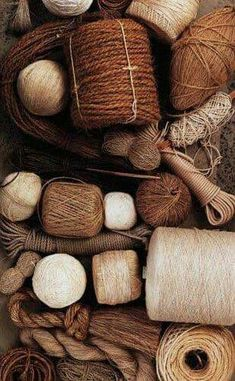 Brown, cream, beige yarn and thread for sewing Textiles, Brown Aesthetic, Earth Tones, Vintage Industrial, Color Inspiration, Bunt, Favorite Color, Burlap, Weaving