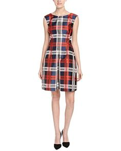 Anne Klein Womens Sleeveless Plaid Pleated Fit and Flare Dress NightVibrant Red Combo 6 ** Read more reviews of the product by visiting the link on the image.