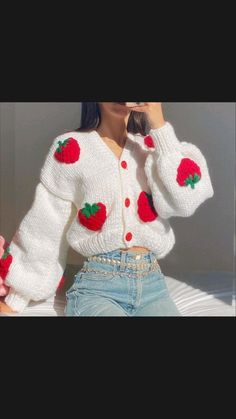 Cute Cardigan Outfits, Cute Cardigans, Cute Casual Outfits, Cute Sweaters, Vintage Sweaters, Kawaii Crochet, Cute Crochet, Knit Crochet, Crotchet