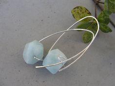 NEW Amazonite Dangle Earrings Rustic Hoop Earrings Sterling Silver by SydneyAustinDesigns