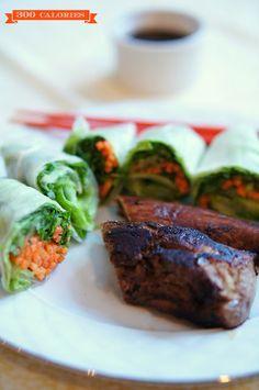 300 kcal vietnamese fresh spring rolls & pork loin dinner