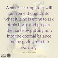 A smart, caring rider will put some thought into what it is he is going to ask of his horse and prepare the horse by putting him into the optimal balance and by giving him a fair warning. - Dr. Thomas Ritter