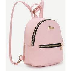 SheIn(sheinside) Metal Detail Front Zipper PU Backpack ($10) ❤ liked on Polyvore featuring bags, backpacks, pink backpack, pink bag, backpack bags, daypack bag and polyurethane bags