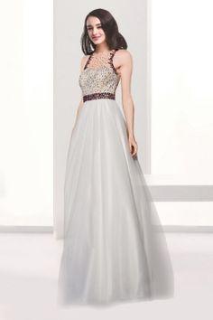 A-line Jewel Neckline Floor Length Tulle Evening Dress with Sequins