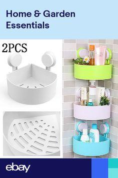 2X Bathroom Corner Shelf Suction Shower Rack Organizer Cup Storage Wall Basket