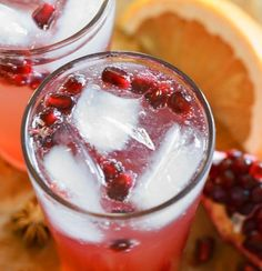 Drink Recipe: Pink Grapefruit and Pomegranate Soda | The Kitchn | made with pink or red grapefruit juice, pomegranate juice, sugar, star anise, ice, soda water, and pomegranate for garnish