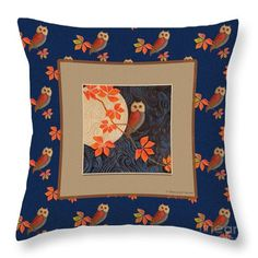 """Visitors to this pin might like to see this image """"Owl and Moon"""" online at Fine Art America (Click the image). Pillows come in six sizes, in cotton or polyester poplin. The image can also be purchased as prints, greeting cards, phone cases and more. Here is the link: https://pixels.com/featured/owl-and-moon-on-midnight-blue-nancy-lee-moran.html ♡ Thank you from the artist! Art © Nancy Lee Moran #midnightblue #NancyLeeMoran #owl #pillow"""