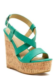 Carrini Crisscross Strap Wedge Sandal