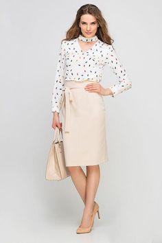 Beige Midi Skirt