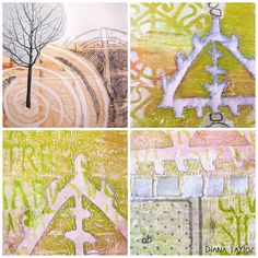 Velvet Moth Studio: WOYWW - Still Gelli Printing! I have been continuing working on my gelli prints and have been developing the theme of gardens and enclosures.