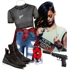 Rihanna - Needed Me by larryssa on Polyvore featuring Topshop, Puma and Erica Anenberg