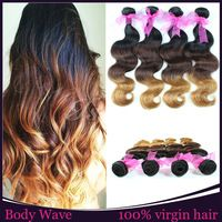 4 Bundles Ombre Peruvian Virgin Hair Body Wave Weave Ombre Hair Extensions Three Tone Color 1b/4/6 Human Hair Weft Weave Cabelo