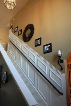 how to add mouldingwainscoting to a stairway Ideas for Home