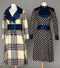 White and royal blue dress and coat with blue channel-quilted accents, by Ronald