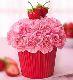 Strawberry Cupcake Flowers