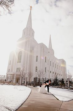 Brigham City Mormon/LDS Temple-GORGEOUS pic! I love the sun beam and the snow on the ground.