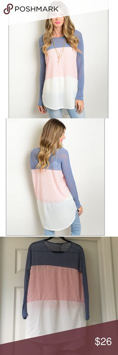 Long sleeve top Blue, pink, and white long sleeve tee. Material is 52% Rayon 42% Polyester and 6% Spandex. I would recommend a tank top underneath, item is sheer as you can see in the pictures. Fits true to size and has a very loose fit. Looks great with leggings! Tops Tees - Long Sleeve