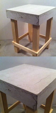 BETON/HOUT KRUKJE (helaas door te snel drogen meerdere scheuren in het beton!) h... - #Beton #BETONHOUT #Door #drogen #helaas #het #KRUKJE #meerdere #scheuren #snel #TE Cement Design, Beton Design, Concrete Stool, Concrete Furniture, Concrete Crafts, Concrete Projects, Diy Furniture Table, Beton Diy, Ideias Diy