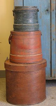 Pantry Box  Early to Mid 19th c. firkins and unusual round pantry box all with original paint.