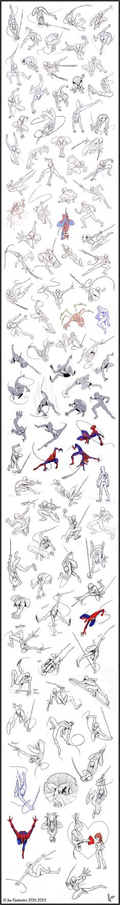 100 Spidey Poses by on deviantART. Please take the time to click this image and visit the artist's DeviantArt page to comment directly with the artist and see more of their works. - Visit to grab an amazing super hero shirt now on sale! Drawing Reference Poses, Animation Reference, Drawing Poses, Drawing Sketches, Anatomy Reference, Drawings, Sketching, Poses Dynamiques, Art Poses