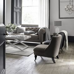 A living room of dreams from #TheWhiteCompany.  Dulwich Tub Chair Butler's Coffee Table Hampstead Sofa Velvet