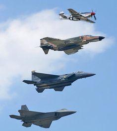P-51, F-4 Phantom, F-14 Tomcat, F-22 Raptor
