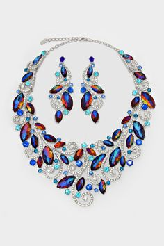Crystal Valencia Necklace in Sapphire Vitrail