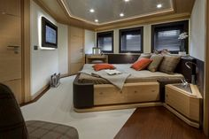 CRN mega yachts j'ade is world's first to feature a floating garage Luxury Yacht Interior, Luxury Yachts, Yatch Boat, Yacht World, Monaco Yacht Show, Formal Dining Tables, Bedroom False Ceiling Design, Elegant Sofa, Contemporary Interior