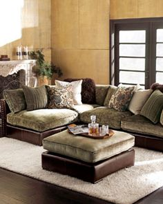 I'm usually not big on sectionals or chenille couches, but this Horchow piece is really luxe looking, despite the fact that it incorporates both! I love the minky shade, very plush look & the addition of the leather. I think that's what pulls it together for me. Beautiful, yet relaxed pieces for a casual den/family room. -17RM Chenille & Leather Sectional Sofa