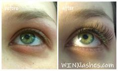 Before and after eyelash extensions, Xtreme lashes, lash extensions from WINX…