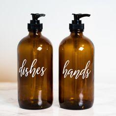 Hand and Dish Soap Dispenser Set, Amber Glass Bottle with Pump, Glass Bottles and Labels, Farmhouse Kitchen Decor, Soap Dispenser Bottle