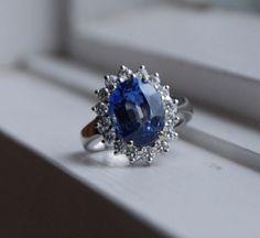 Princess Diana blue sapphire ring by EidelPrecious on Etsy, $5000.00