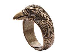 Viking Raven Head by RuyaN Pagan Jewelry, Viking Jewelry, Jewelry Rings, Bronze, Viking Raven, Celtic Raven, Celtic Art, Vikings, Rabe