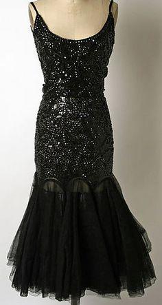 Norman Norell - Robe de Soirée - Soie, Tulles et Sequins Noir - 1949