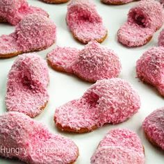 fuzzy pink slipper cookies. lots of cute ideas on this site