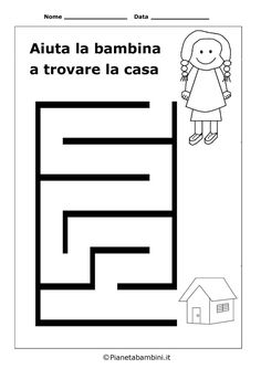 Free Printable Worksheets: Maze - Girl and House Printable Preschool Worksheets, Free Printable Worksheets, Kindergarten Worksheets, Worksheets For Kids, Maze Worksheet, Mazes For Kids, Pre Writing, Quiet Books, Preschool Activities