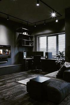 Home Office Setup, Home Office Design, House Design, Bedroom Setup, Black Interior Design, Game Room Design, Black Rooms, Luxurious Bedrooms, House Rooms