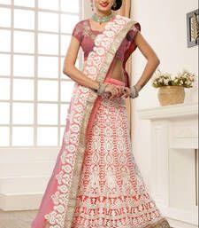 Buy Dusty Pink Soft Net stone work  lehenga-choli lehenga-choli online