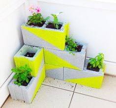 Cement blocks for planters