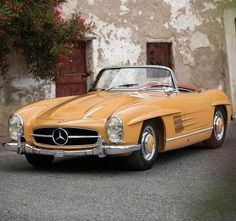 Mercedes Benz #300SL / Pic ©Tom Gidden, automotive photographer, UK. The car was painted by Mercedes-Benz in the color we see today, called 'Senf' or the more aptly named mustard. The color was not publicly available but was delivered at the request of a high-profile single client. It remains the only 300 SL ever delivered in this color, despite requests from other potential owners to have their vehicles finished in Senf. (Classic Car Chasers/instagram))