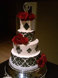 Damask Black and Red Rose Wedding Cake