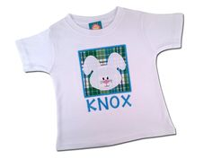 Boy's Easter Shirt - Bunny Box with Embroidered Name - P8 by SunbeamRoad on Etsy