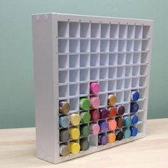 Here it is! An organizer to hold all of those acrylic paint bottles. The Acrylic Paint organizer neatly holds 90 of the standard 2 oz. paint bottles and is one of our most popular organizes. No easier
